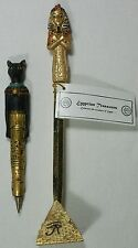 Egyptian Style Letter Opener & Pen Set Tutankhamen & Cat Poly Resin & Metal