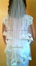 ALENCON LACE FINGERTIP VEIL IN TWO TIER WITH BEADED LACE & BLUSHER in IVORY