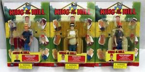 Lot of 3 King of the Hill Figures: Dale Gribble, Boomhauer, and Hank Hill NIB NR