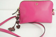 4bdfdf55fc30 Tory Burch Pink Peace Pebbled Leather Mini Cross-body  250 logo Womens Small