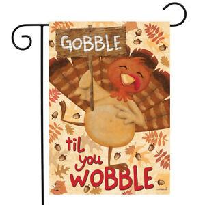 "Gobble Turkey Thanksgiving Garden Flag Holiday Humor 12.5"" x 18"" Briarwood Lane"