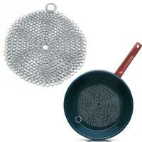 Stainless Steel Cast Iron Cleaner Chain Mail Scrubber Kitchen Cookware Tool O2K5