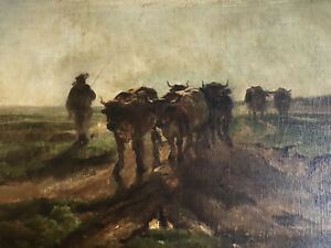 19thC Antique Pastoral Cows Tonalist Impressionist Barbizon Hudson River School