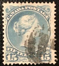 CANADA 1875 QUEEN VICTORIA LARGE QUEEN # 30b 15cent GREY BLUE USED STAMP