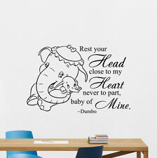 Dumbo Wall Decal Disney Elephant Quote Nursery Vinyl Sticker Baby Decor 118hor