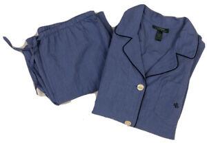 Lauren Ralph Lauren LRL 2 pc Monogram Pajama PJ set Blue lightweight cotton L