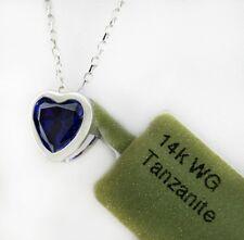 TANZANITE 0.83 carats PENDANT 14k White Gold  *FREE SHIPPING & FREE CHAIN
