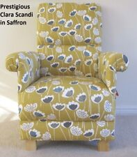 Prestigious Clara Scandi Fabric Adult Chair Armchair Saffron Mustard Ochre New