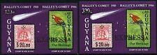 Guyana 1987 Halley Scher cometa Comet Halley Uccelli Blocco 15 I & II post FRESCHI MNH