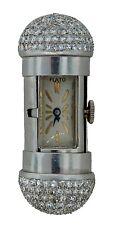 Art Deco c.1930s 5 cts DIAMOND PLATINUM TRAVEL CLOCK PENDANT by PAUL FLATO Rare