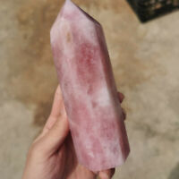 1PC Natural rose quartz obelisk crystal wand point reiki healing 700g+