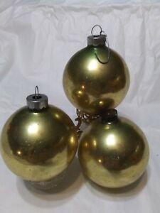 3 Vintage Glass Christmas Ornaments Balls Gold  USA