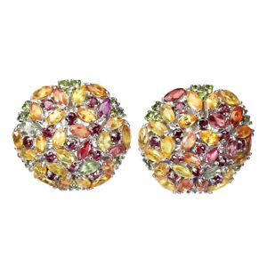 Marquise Sapphire Chrome Diopside Rhodolite Garnet 925 Sterling Silver Earrings