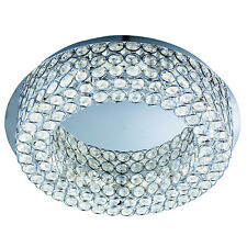 Vesta Chrome 54 LED Ceiling Flush Light Fitting Lighting With Crystal Buttons
