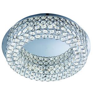 Vesta Chrome 54 LED Ceiling Flush Light Fitting Lighting With Crystal Buttons