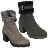 Ladies Block Heel Chelsea Ankle Boots Womens Fur Buckle Warm Casual Winter New