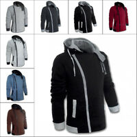 Stylish Mens Casual Zipper Hooded Long Sleeve Slim Fit Coat Jacket Outwear M-6XL