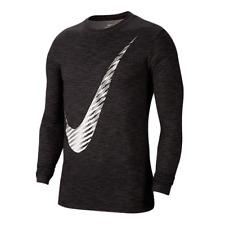 Nike Men's Dry Swoosh Graphic Long Sleeve Top Shirt Black size M L XL 2XL