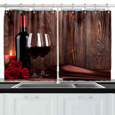 Red Wine Rose Wood Wall Decor Kitchen Curtains Window Drapes 2 Panels Set 55*39