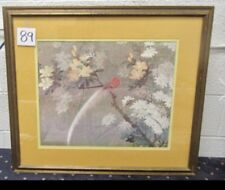 """Vintage 31""""x 27"""" Framed Chinese Print of Red Birds Signed By Artist"""