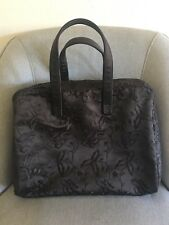 Neiman Marcus Travel Cosmetics Large Make UpToiletries Case Brown Embroiderd