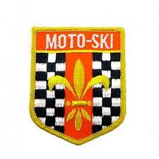 Moto Ski Sew On Embroidered Patch Fleur-De-Lis Logo Checkerboard Vintage Rare