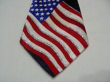 STEVEN HARRIS - GLITTER EMBELLISHED - AMERICAN FLAG & EAGLE - USA - NECK TIE!