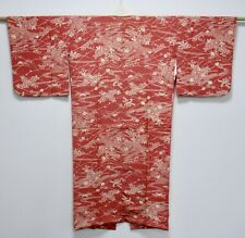 JAPANESE KIMONO SILK JUBAN / EDO-KOMON / SHARK / RED / SILK FABRIC /92