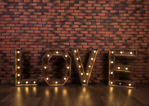 Valentines Day Lights Words Red Brick Wall 7x5ft Backdrop Vinyl Photo Background