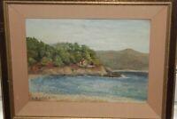 """Huile sur panneau """"Maisonnette au bord de la mer"""" peint et signé par ARDIST 1932"""