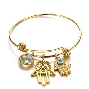 18K Gold Plated Evil Eye Hamsa Bangle Bracelet