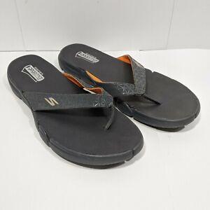 Sketchers Men's 14 Flip Flop Sandals Grey Orange Goga Mat Technology