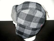 Levi's Sherpa Wool Lined Mens Trapper Hat Black Plaid Size S/M NWT Ships Free