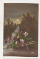 Flowers In Wheelbarrow Furia Vintage Greetings Postcard US068
