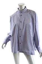 ESKANDAR Heather Lavender 100% Cotton Sateen Mandarin Collar Shirt - NICE - Sz 1