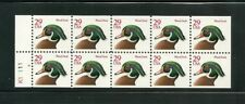 US SC#2485a WOOD DUCK POSTAGE STAMP UNFOLDED BOOKLET PANE MNH