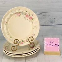 Pfaltzgraff TEA ROSE Pink Blue Floral Scalloped USA Stoneware Dinner Plate Set 4