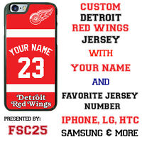 Detroit Red Wings Personalized Hockey Jersey Phone Case Cover for iPhone etc.