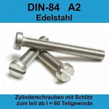 Zylinderschrauben Zylinderkopf mit Schlitz Edelstahl A2 DIN 84 x10 M6x40