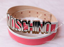 AUTH MOSCHINO LOGO WHITE PINK BICOLOR LEATHER WAIST BELT SILVER HW SIZE 40 BNWT
