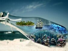 Beach Sea Landscape Bottle Square Diamond Painting 5D Cross Stitch Full Drill