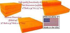 Queen Size 6x60x80 Shikibuton Trifold Foam Bed, Mattress Density 1.8 lb Orange