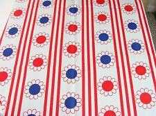"""2.5 yds Vintage Flower Power Red White Blue Textured Cotton Fabric 44"""" wide"""