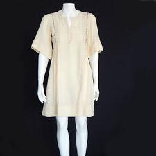 ISABEL MARANT ETOILE Cream Gauze Embroidered Hook Front Pleated Side Dress sz 34
