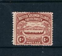 "Solomon Is. - 1907 - 6d Chocolate-Brown ""War Canoe"" - SC 6 [SG 6] MINT 20 E"