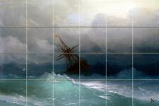 36 x 24 Art Marine Storm Ocean Sailboat Ceramic Mural Backsplash Bath Tile #2145