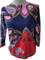 Talbots Petite  pink blue Paisley Short Sleeve Top Sweater Knit size MP