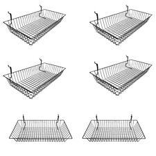 "6Pc 24""x 12""x 4"" Shallow Basket Display Rack Gloss Black Metal Wire Slatwall"