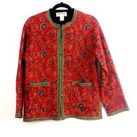 Orvis Women's Quilted Light Cotton Reversible Red Floral / Black Jacket Large