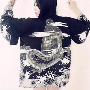 Womens Kimono Cardigan Shirt Vintage Japanese Style Wave And Wind Dragon Blouse
